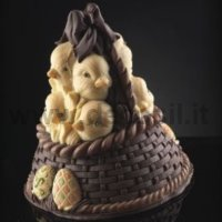 Basket of Chicks Chocolate Easter Bell LINEAGUSCIO Mould