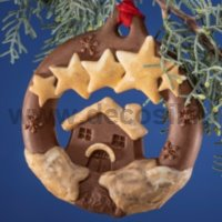 Christmas Hanging Ornament House and Stars Mould